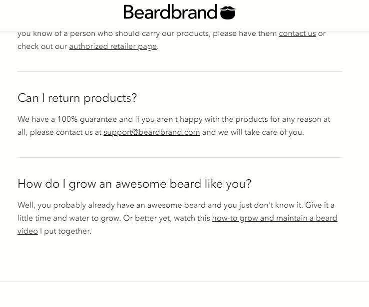 beardbrand faq page example adding personality to faq in shopify