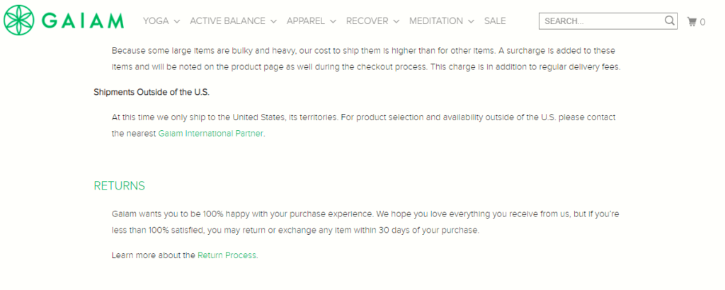 gaiam example of faq page in shopify