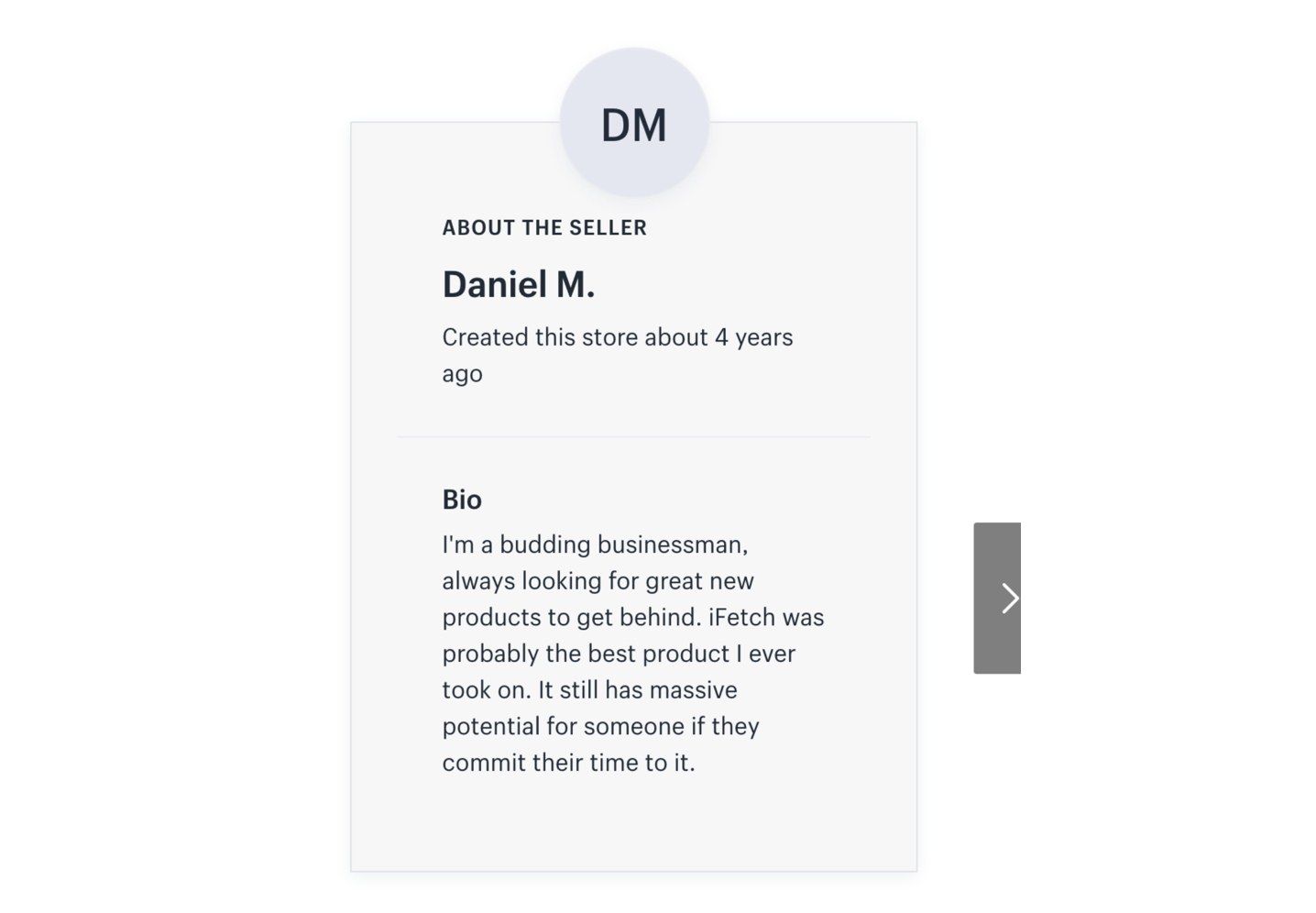 Example of a Shopify user bio