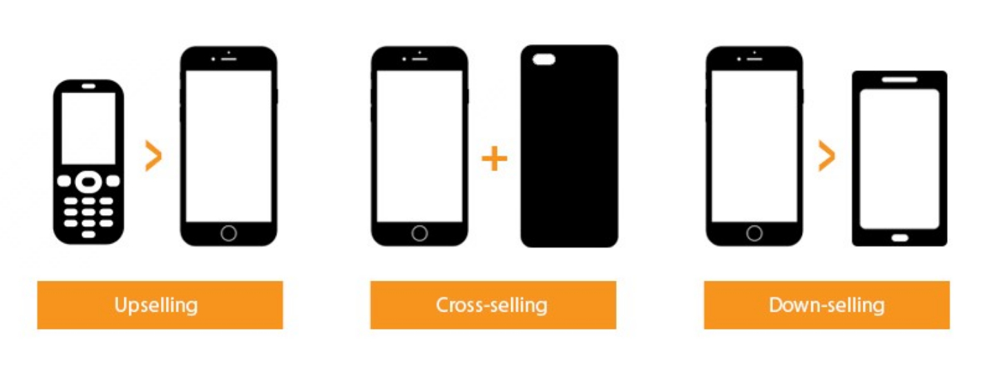 Diagram of upselling, cross-selling, and down-selling.