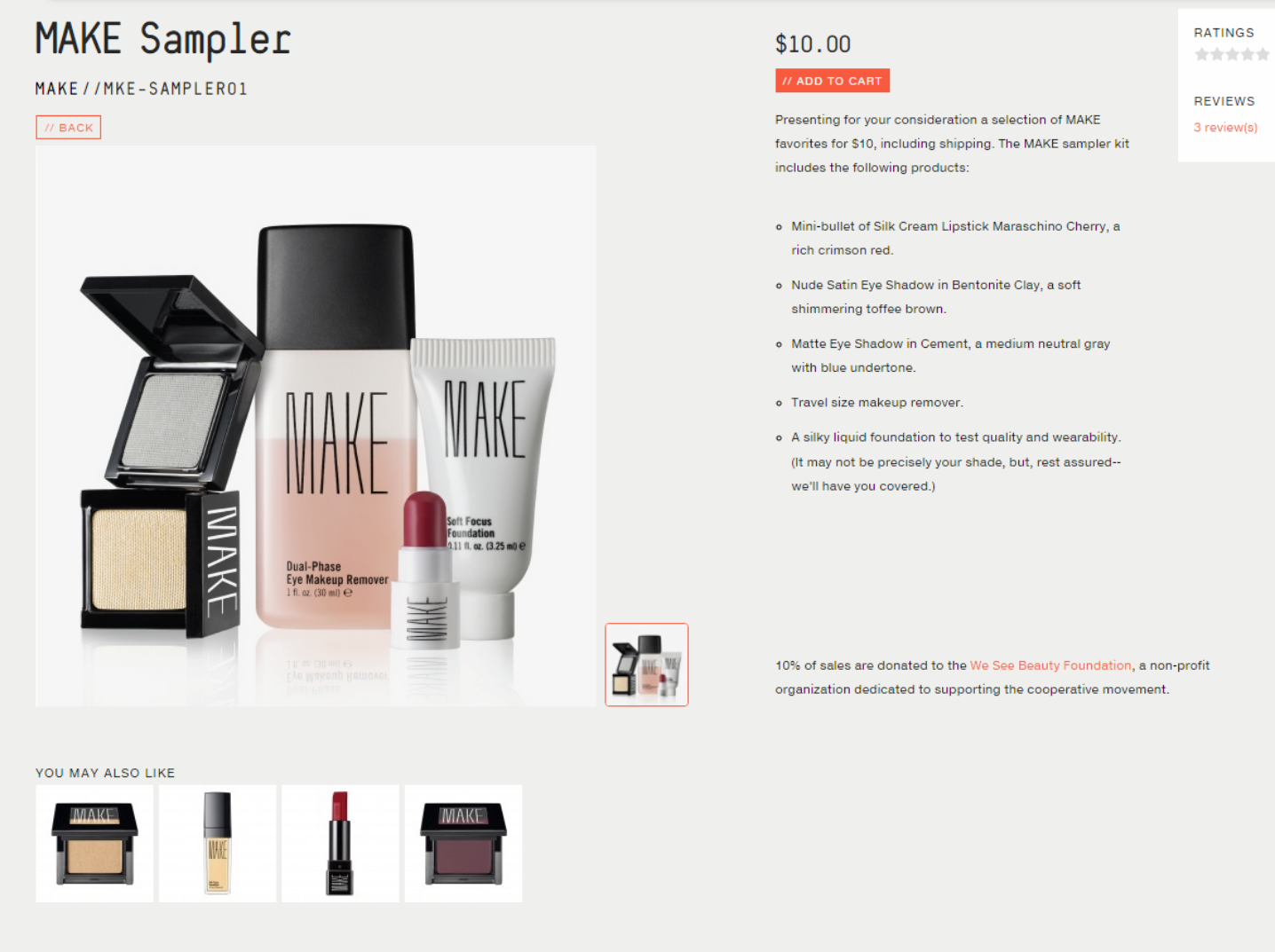 Screenshot of product that has similar products recommended underneath.