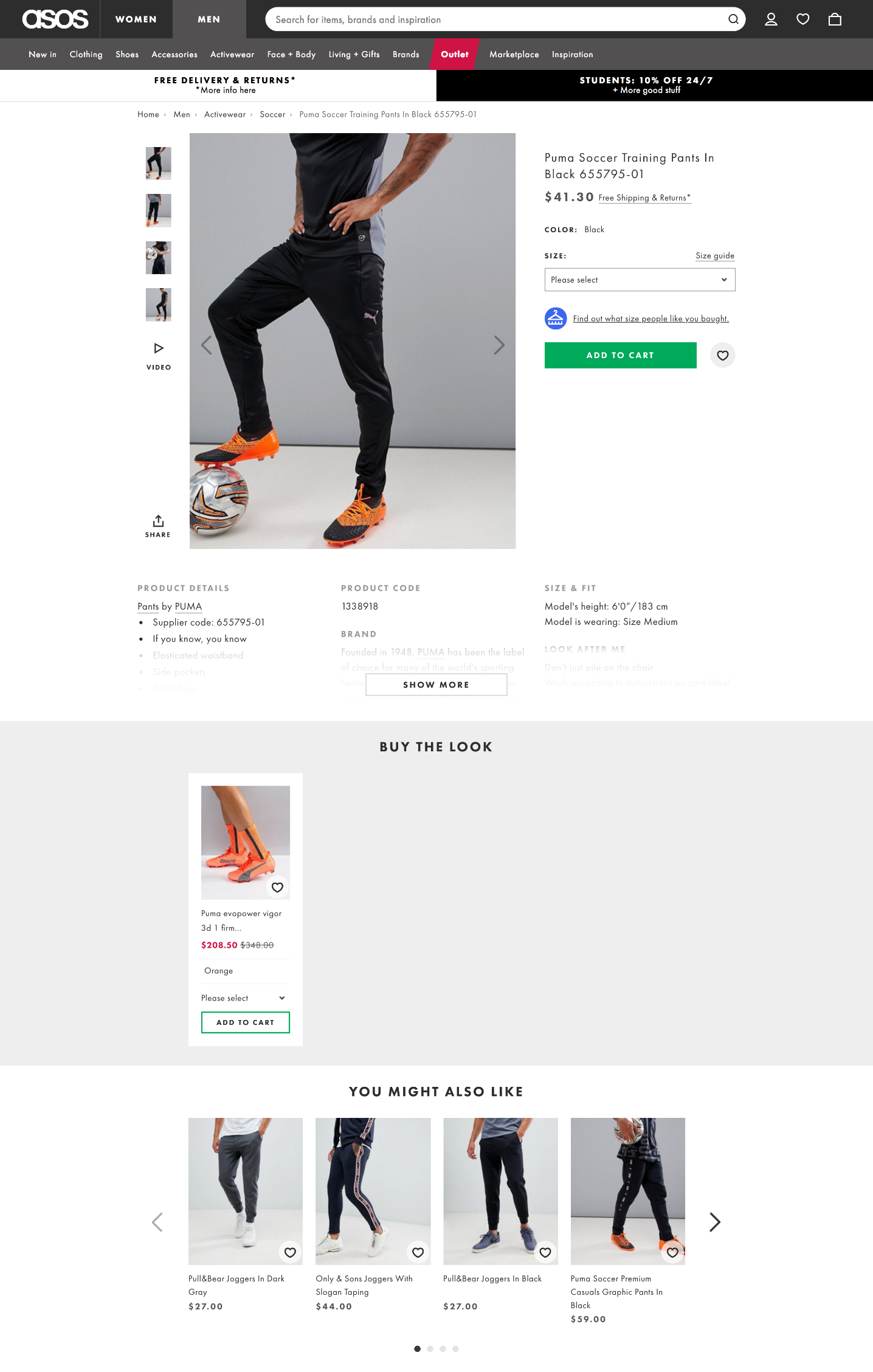 Screenshot of a product page on the ASOS website that features Puma pants. There is a photo below the product that recommendations matching soccer cleats.