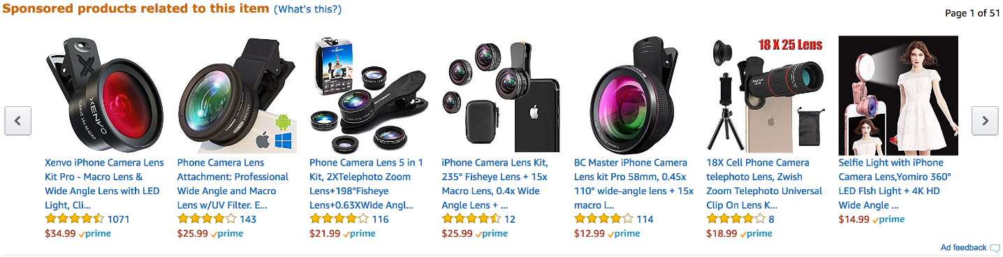 Screenshot of products related to item on Amazon website