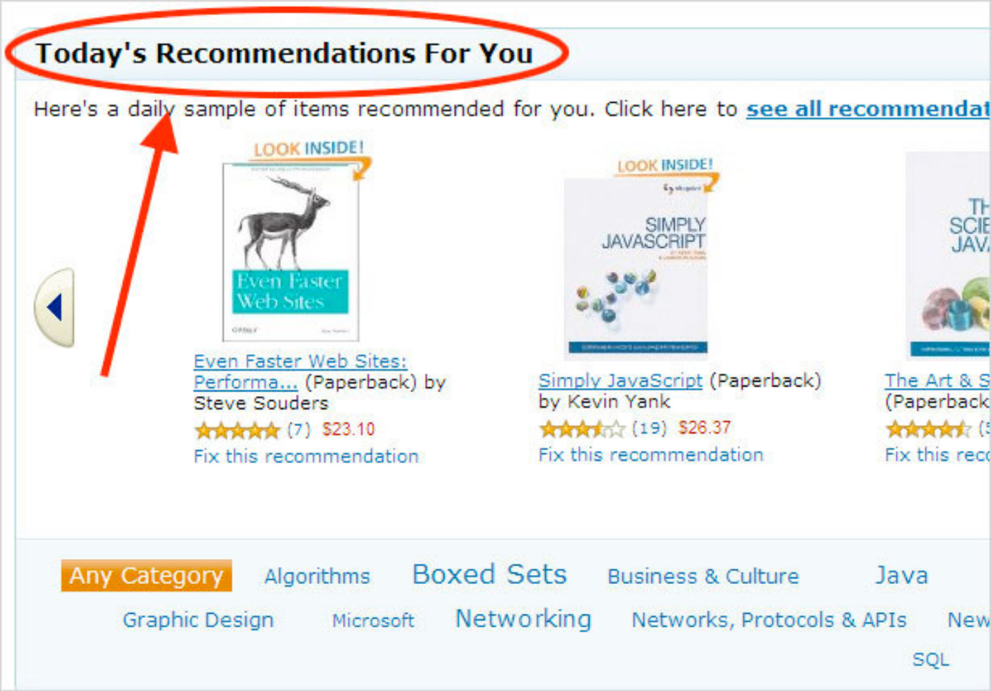 """Screenshot of Amazon's website that includes """"Today's Recommendations for You"""""""