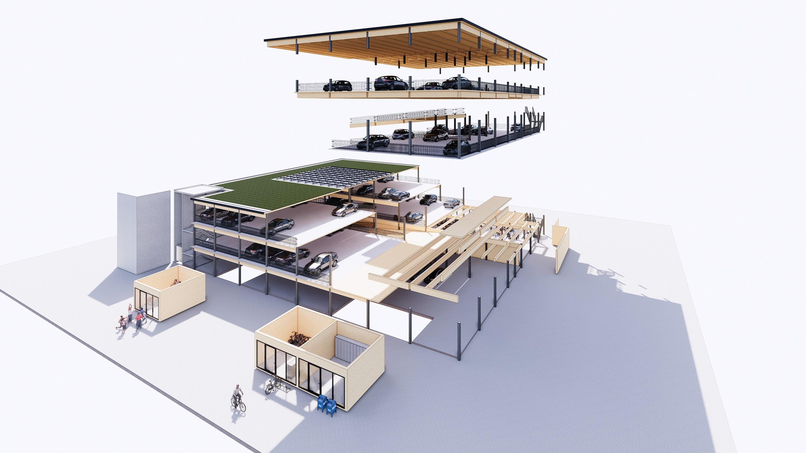 Continental Car Parks ontwikkelt nieuw concept van energiepositieve houten mobiliteitshub