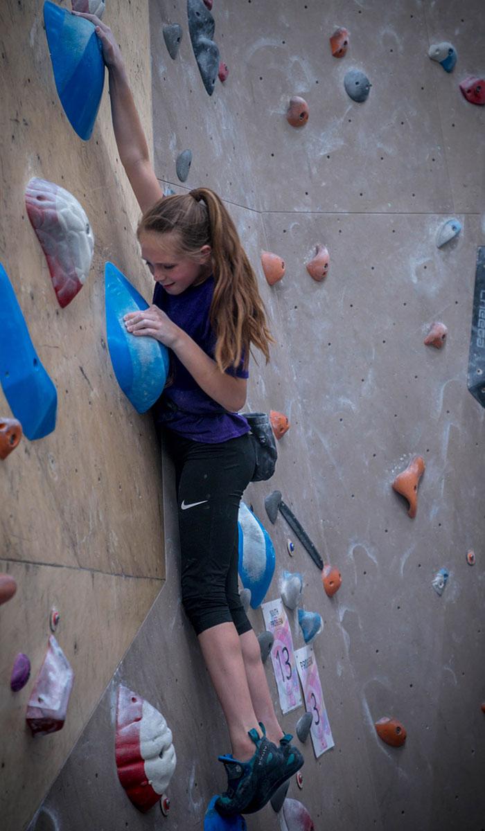 Girl Bouldering Tunbridge Wells
