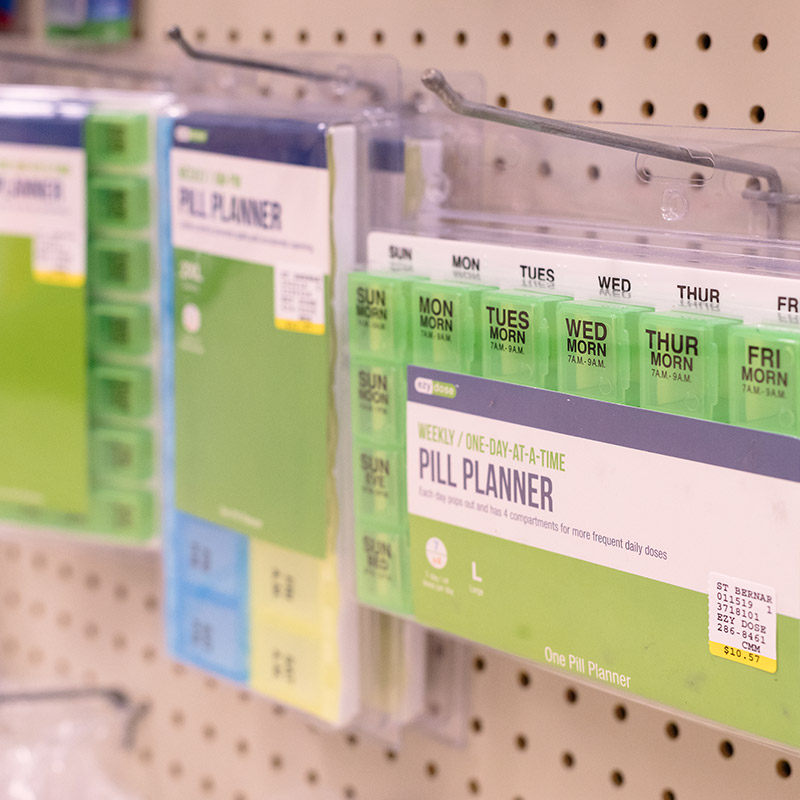 Daily pill planner at St. Bernard Drugs