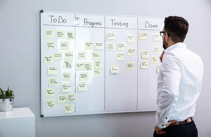 Image of man looking at board, which lists a long series of backlog items - OttoLearn Microlearning
