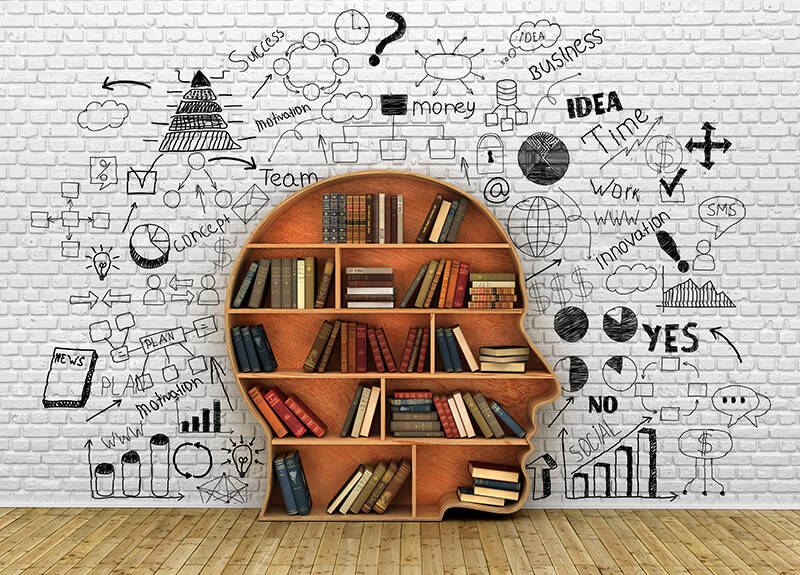 Image of a bookshelf in the shape of a person's profile. Each shelf has several books on them. Surrounding the bookshelf are various words written on the wall related to learning and motivation, as well as representative charts and bar graphs. - OttoLearn Personalized Learning