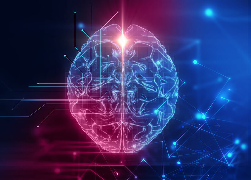 Illustration of a brain overlaid with lines connecting with dots on a blue and pink gradient background - OttoLearn Agile Microlearning