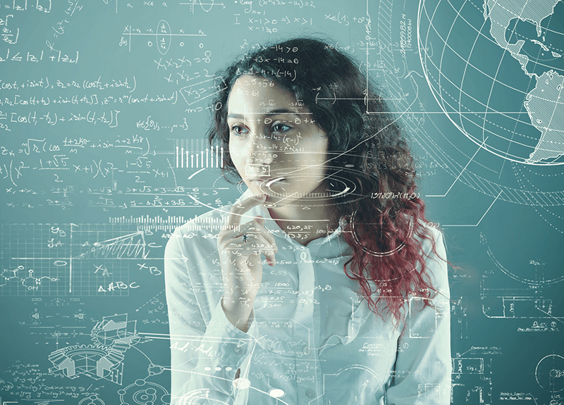 A woman looking thoughtful, touching her hand to her chin as she looks to the left. A series of charts, graphs, equations and other representative graphics are overlaid.