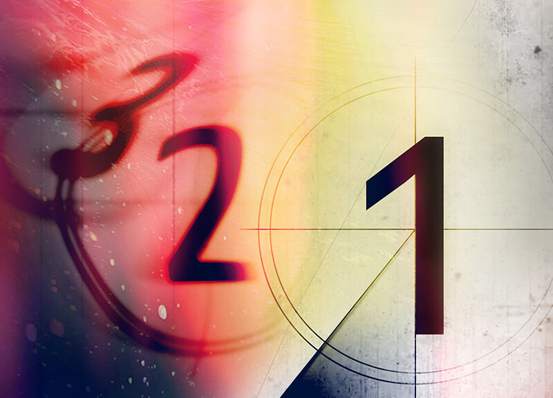 An artistic representation of the classic 3-2-1 movie screen countdown.