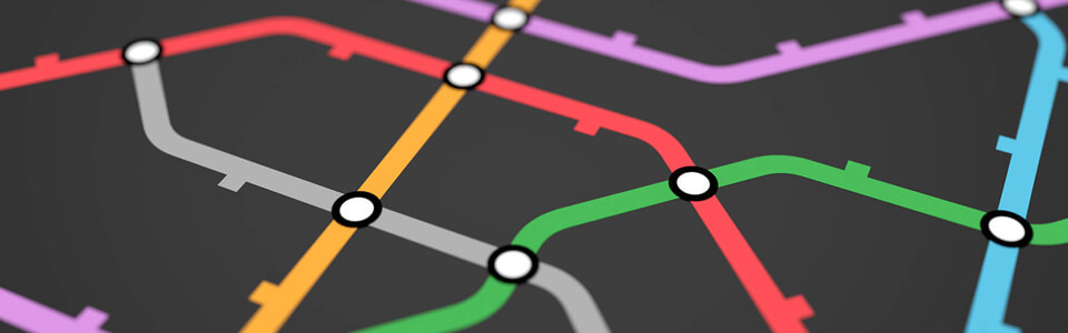 Colorful lines on a black background. White circles appear on each intersection of two lines.