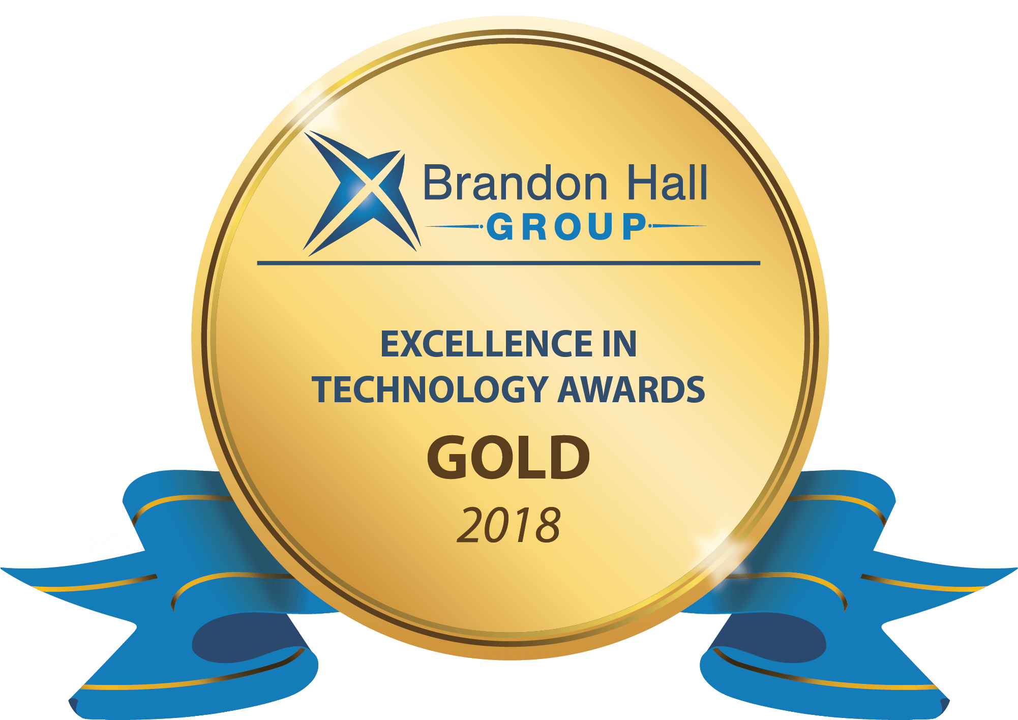 The 2018 Brandon Hall Group Excellence in Technology Awards Gold Medal. (A golden circle with a blue ribbon folded behind.)