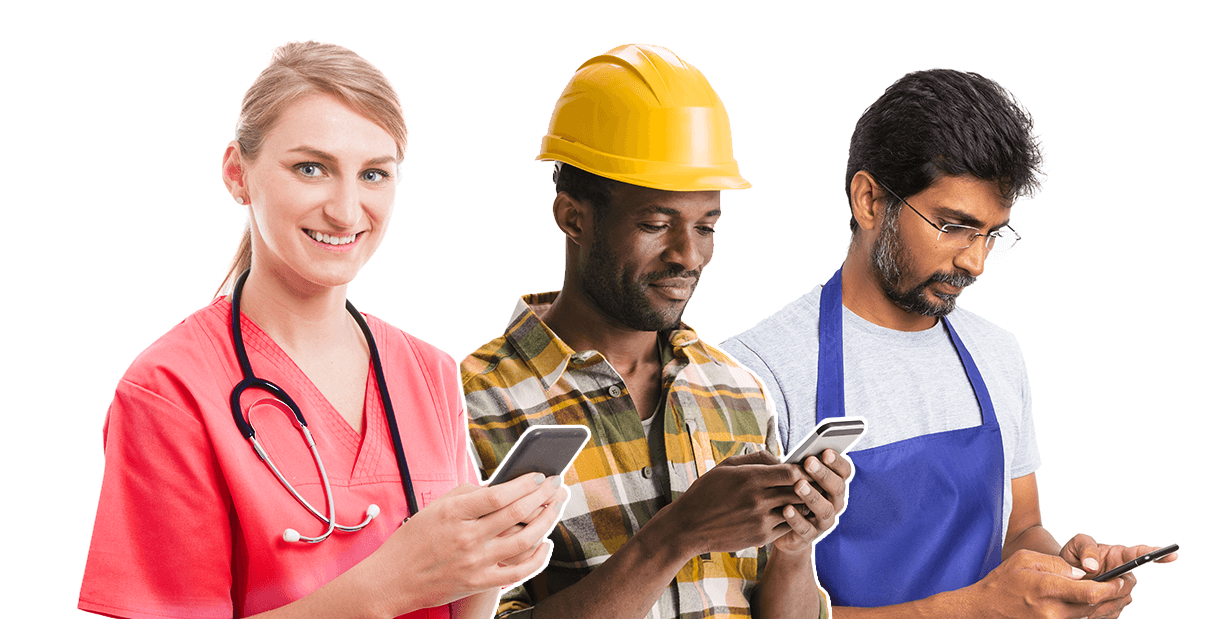 Three individuals (a nurse, manufacturer, retail employee) holding smartphones - OttoLearn Microlearning