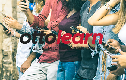 """Example of the OttoLearn logo on a busy background  - Logo """"Do Not's"""" - OttoLearn Microlearning"""