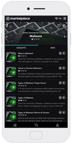 Concept screen on mobile device - OttoSecure Cyber Security Training