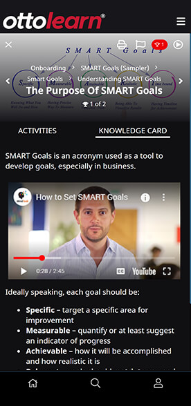 OttoLearn Knowledge Card mockup showing text and the various types of images that can be embedded. (YouTube Video)