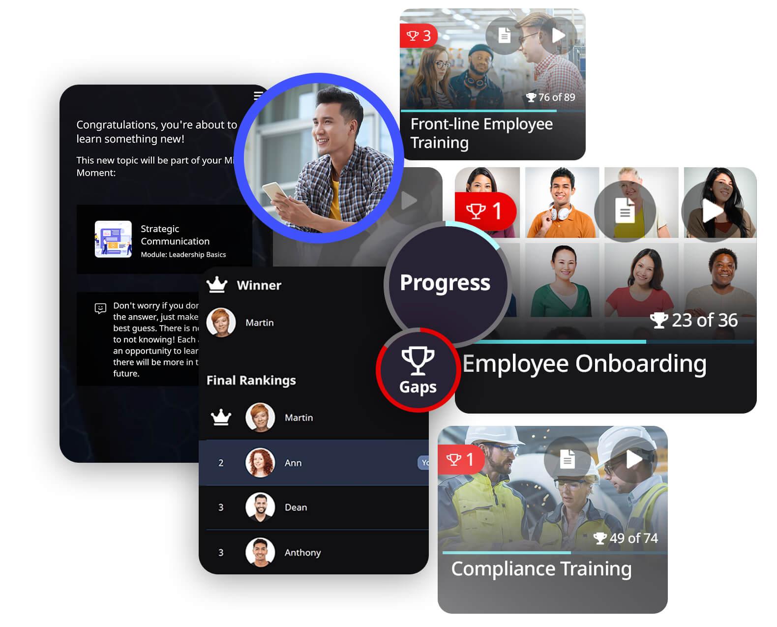 OttoLearn learner-side screenshots collage