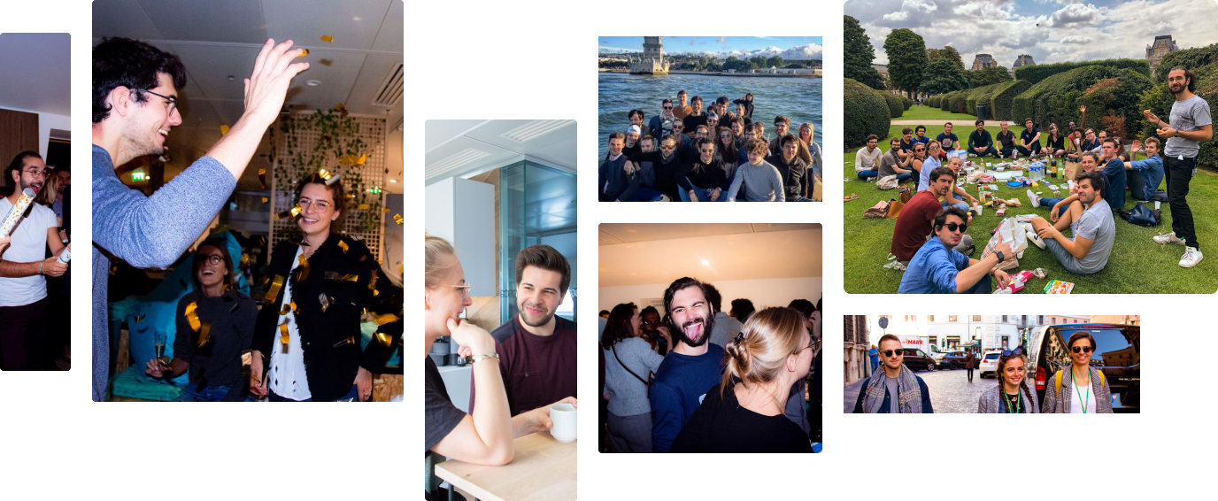 Company Parties, the Team in Lisbon, Team Lunch, and Employees Chatting