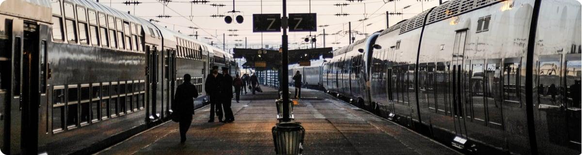 Trains at Train Station