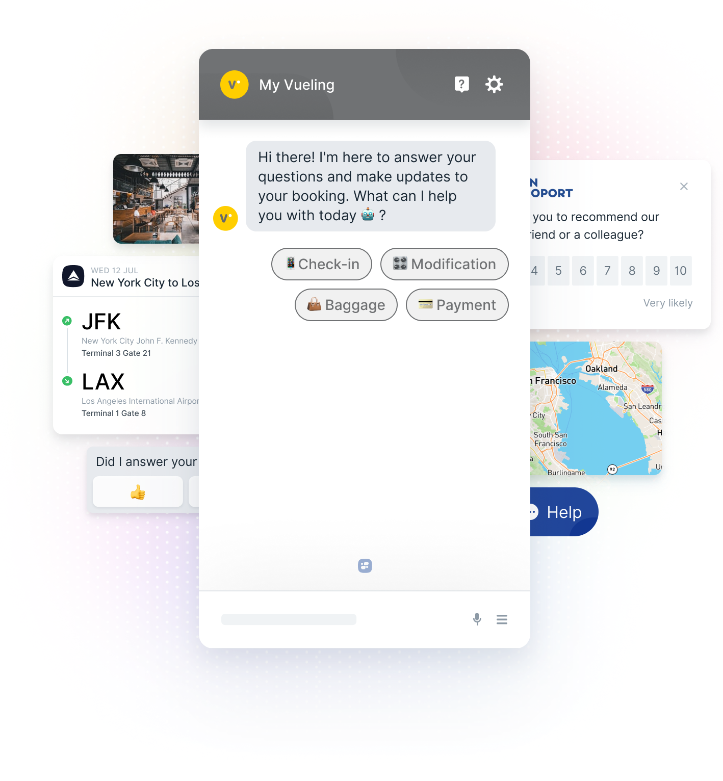 Vueling Chatbot, Flight Itinerary, Map. Feedback Score, and Hotel Lobby