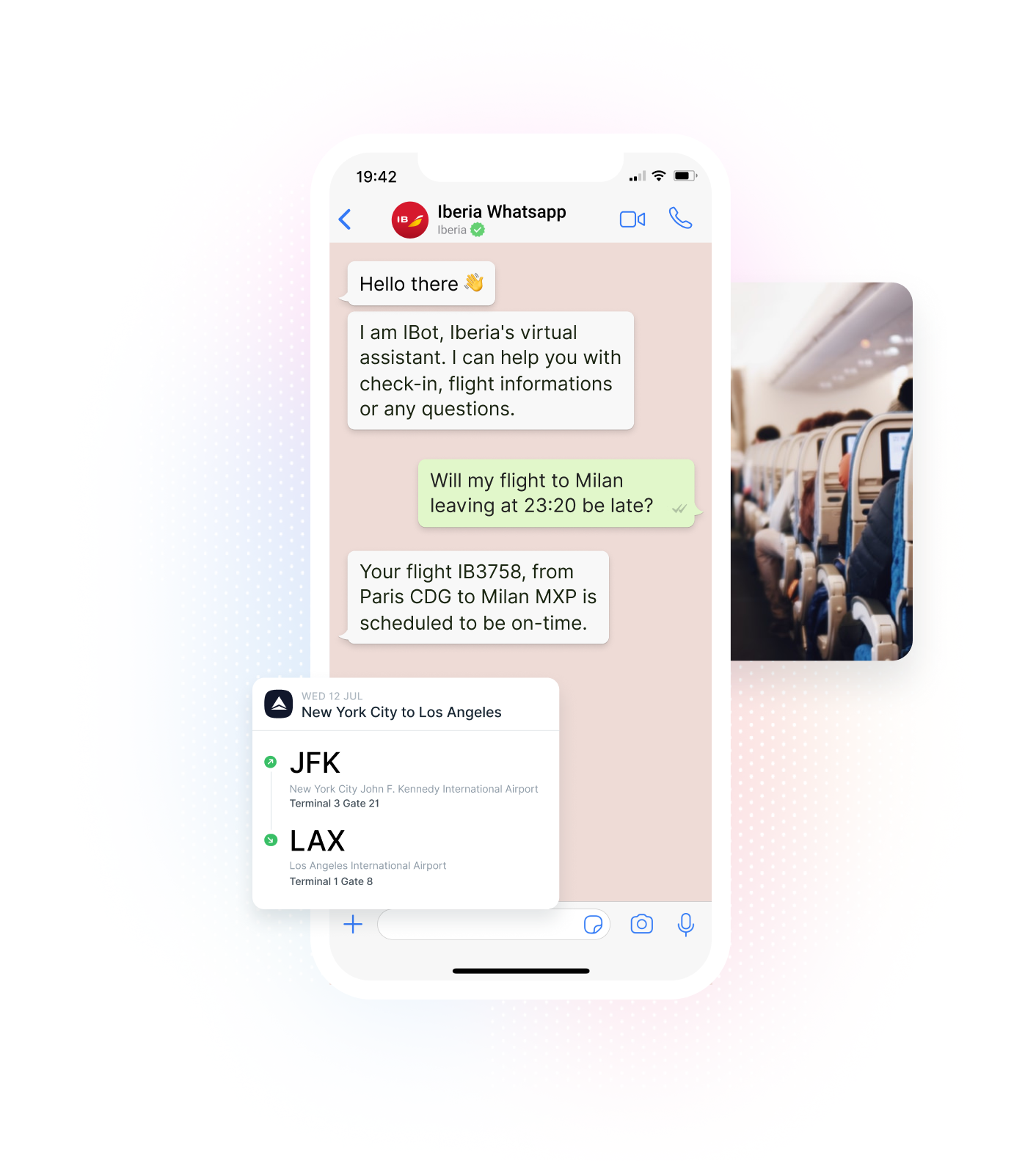 Iberia WhatsApp Chatbot, Flight Plan, and Airplane Cabin