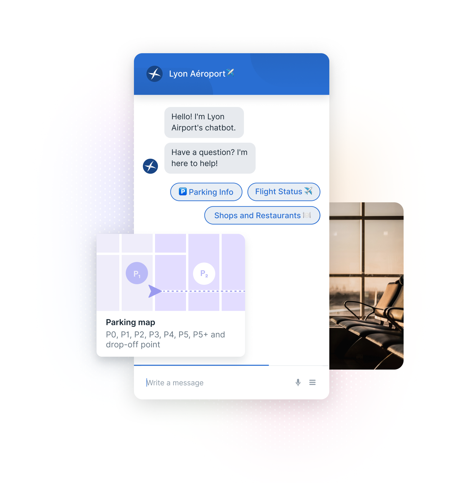 Lyon Airport Chatbot, Parking Map, and Airport Waiting Room