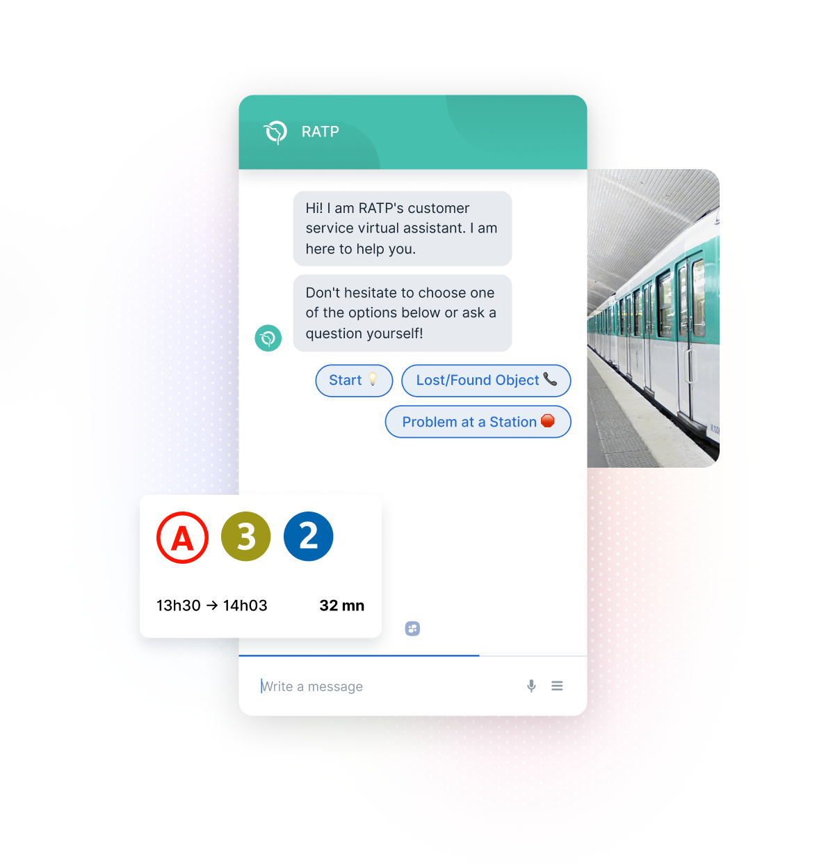 RATP Chatbot, Public Transit Schedule, and Subway Train