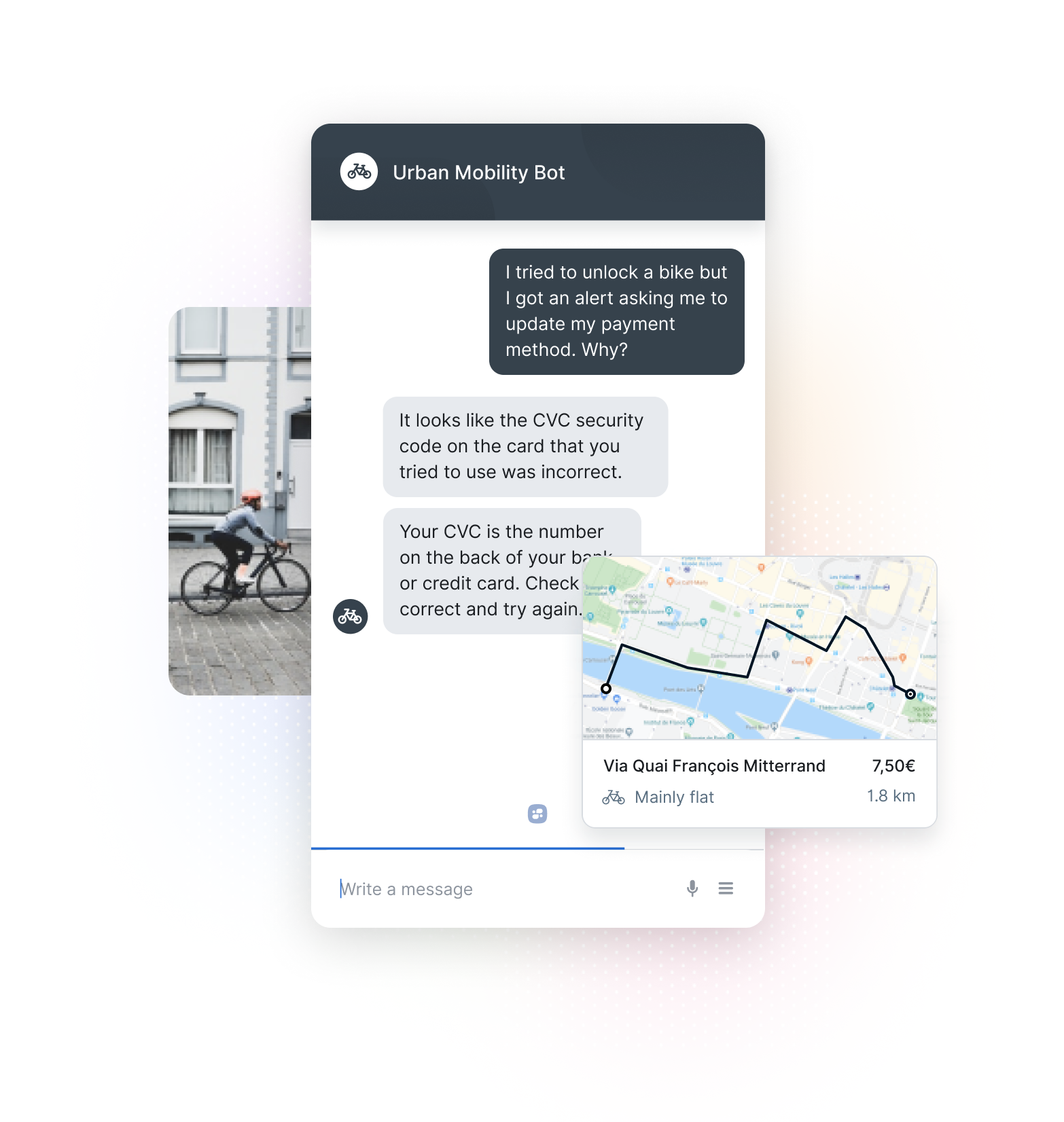 Chatbot Solving Credit Card Issue, Bike Trip, and Person Riding Bike