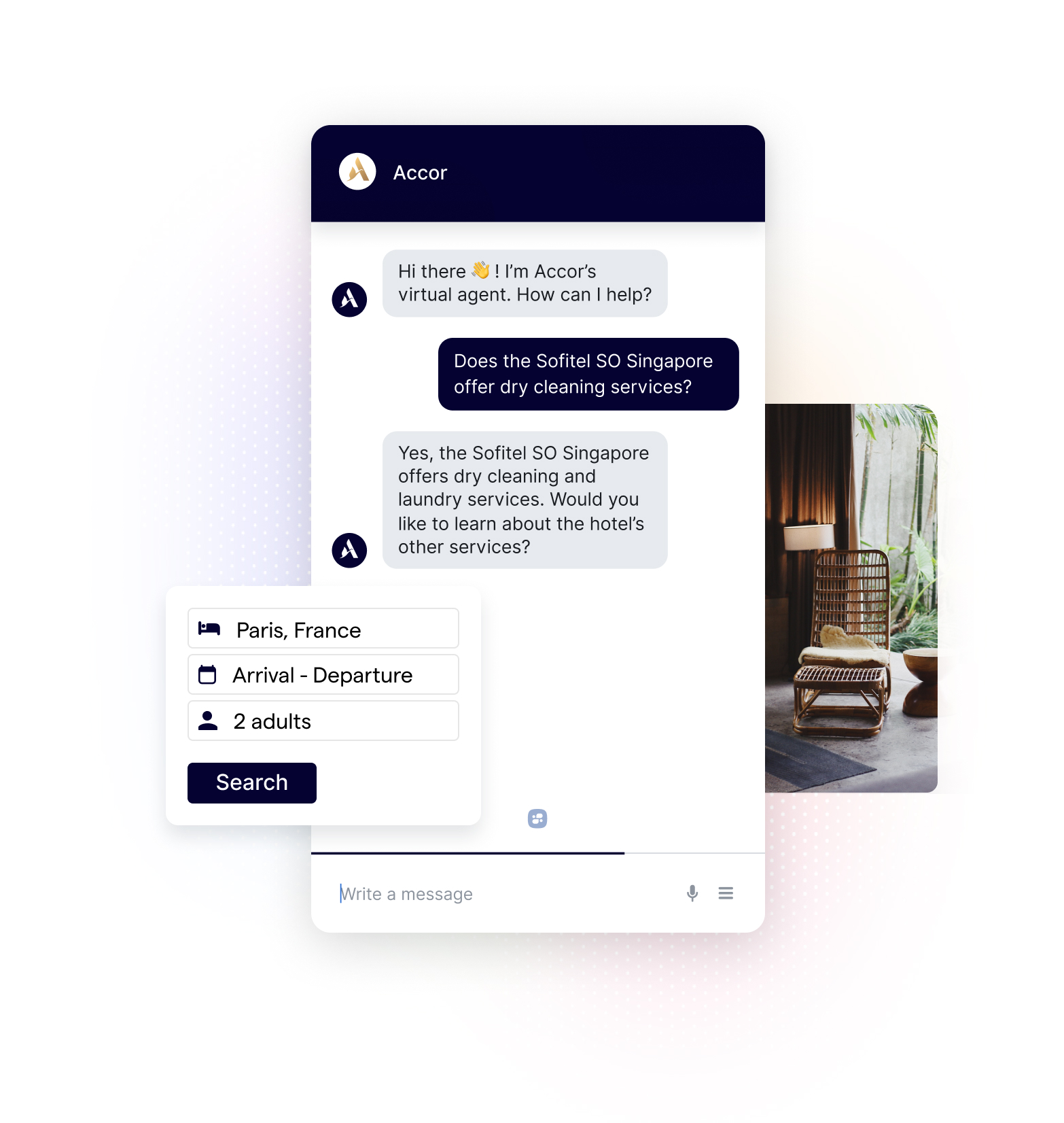 Accor Hotel Chatbot, Booking Interface, and Hotel Lobby