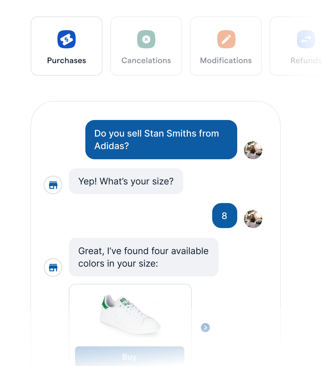 Chatbot Helping a Customer Buy a Pair of Sneakers