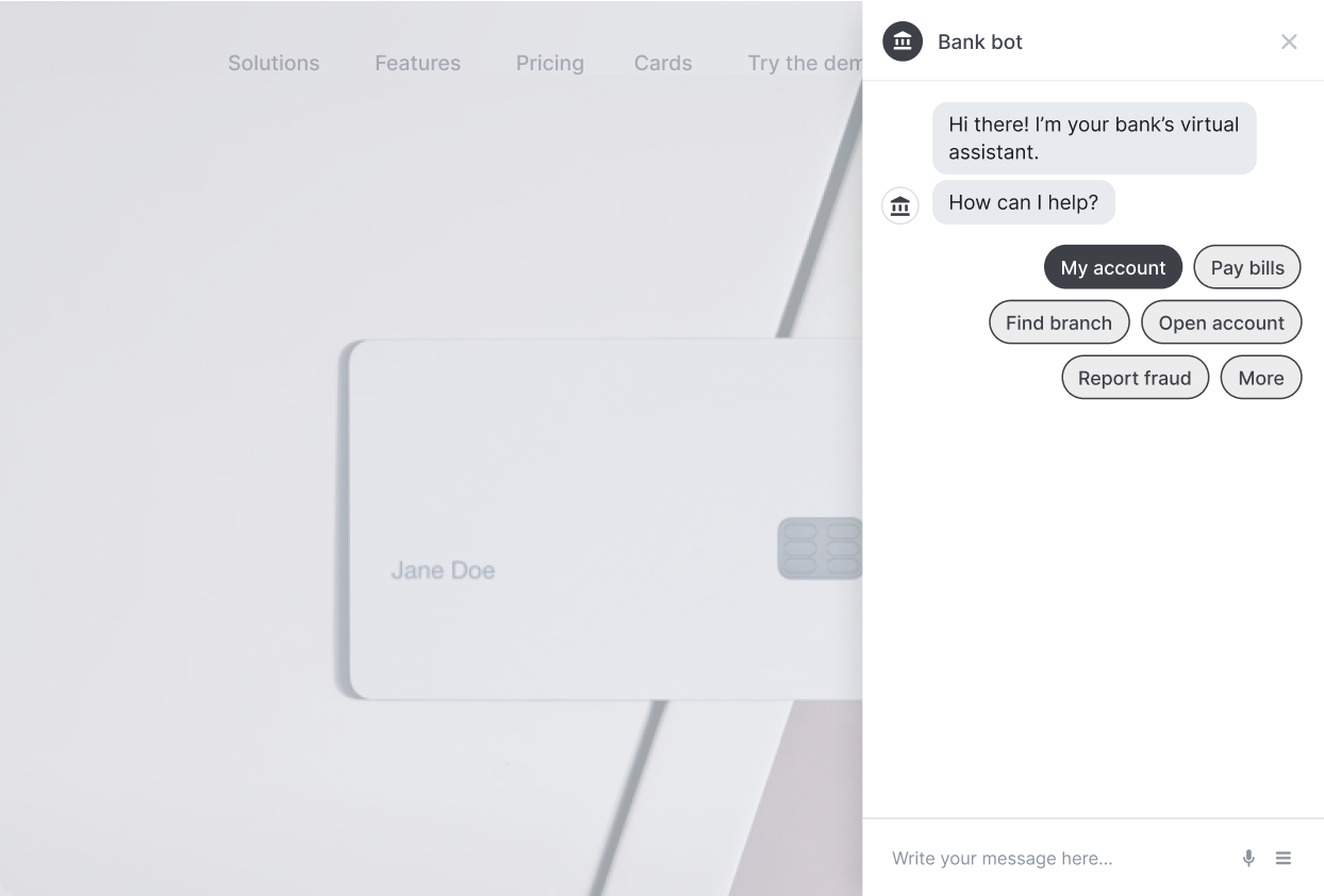 Bank Chatbot with Credit Card in the Background