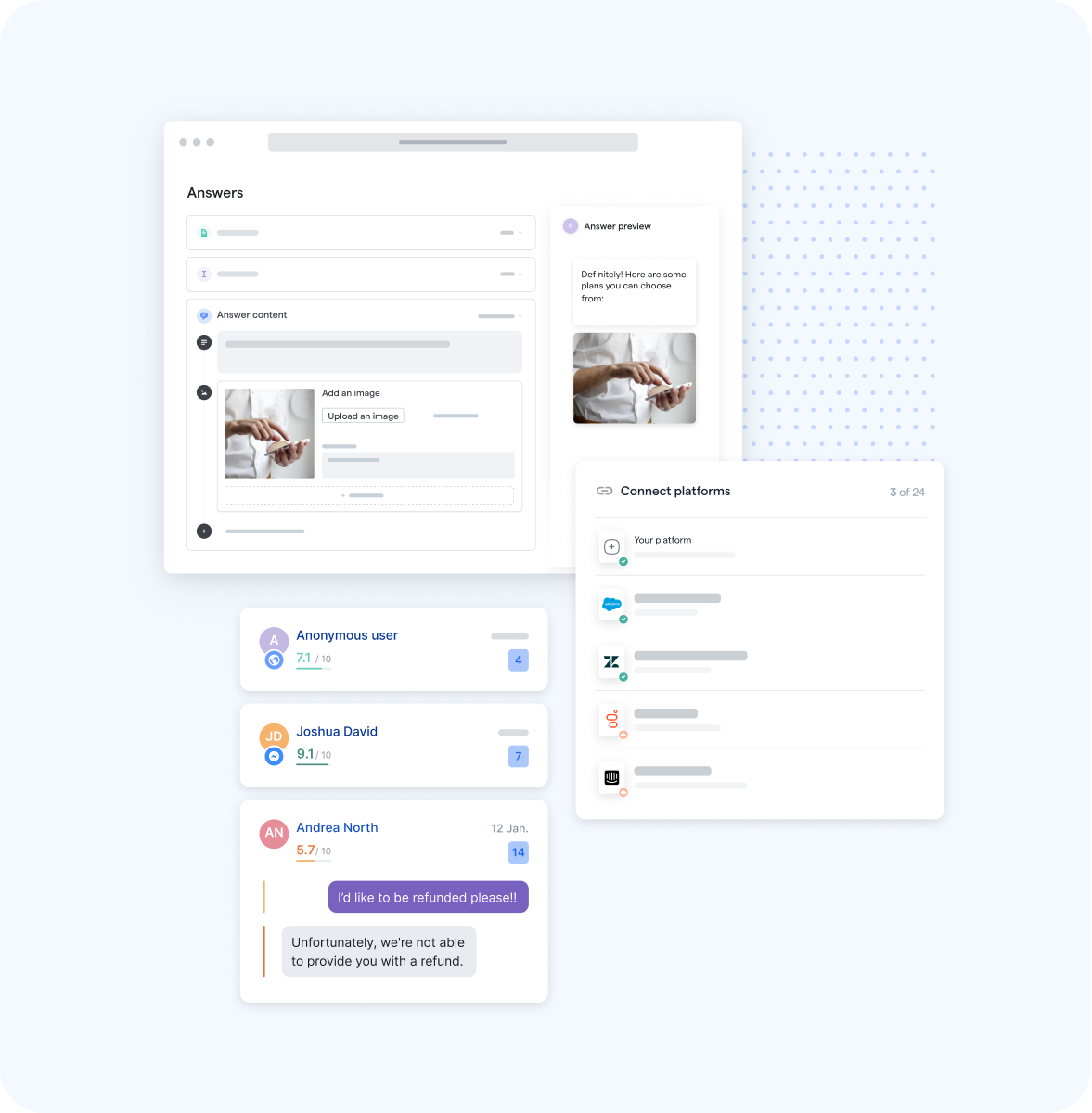 Mindsay Chatbot Platform, Connecting Business Tools, Bot Conversations