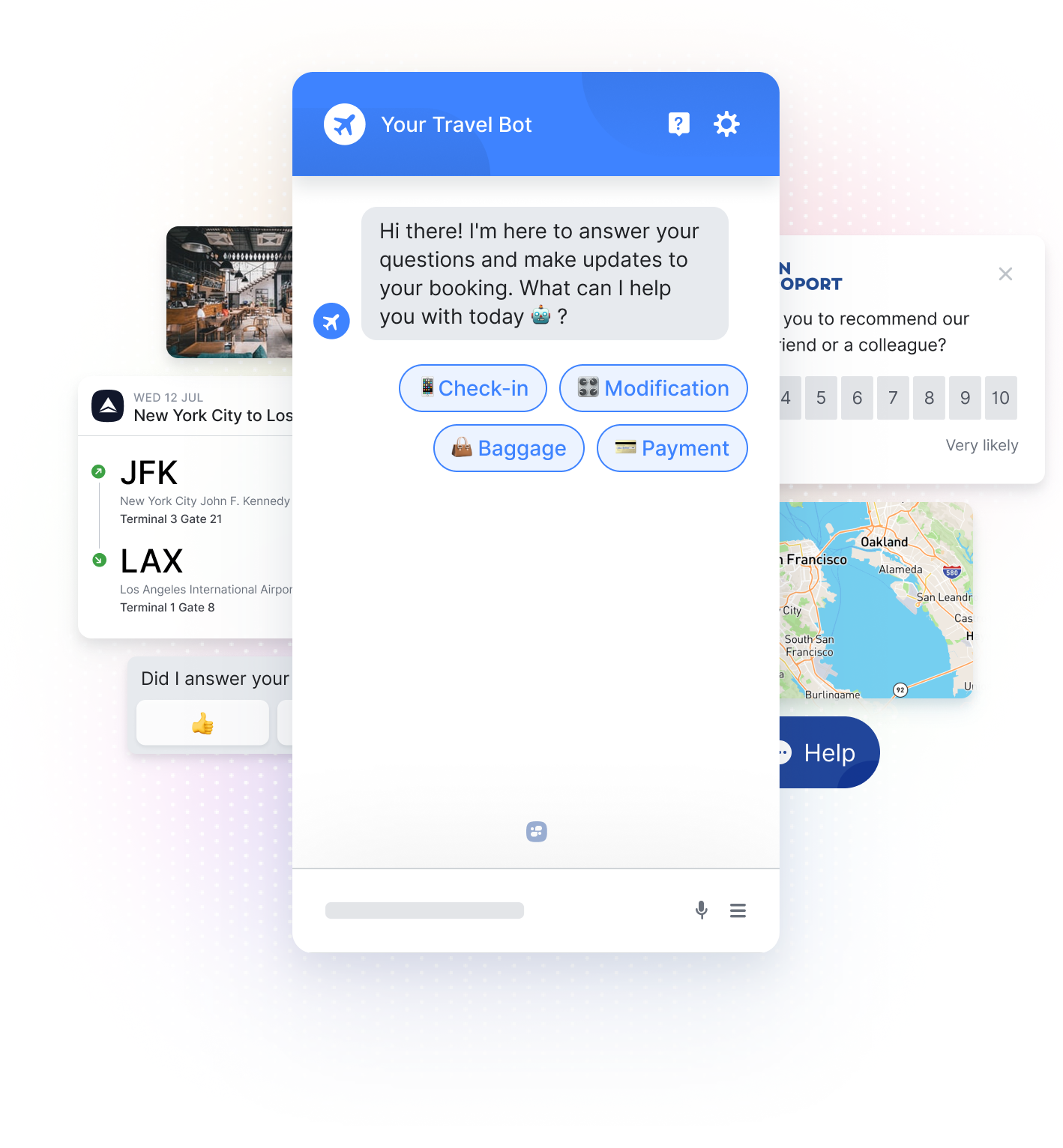 Airline Chatbot, Flight Itinerary, Map. Feedback Score, and Hotel Lobby