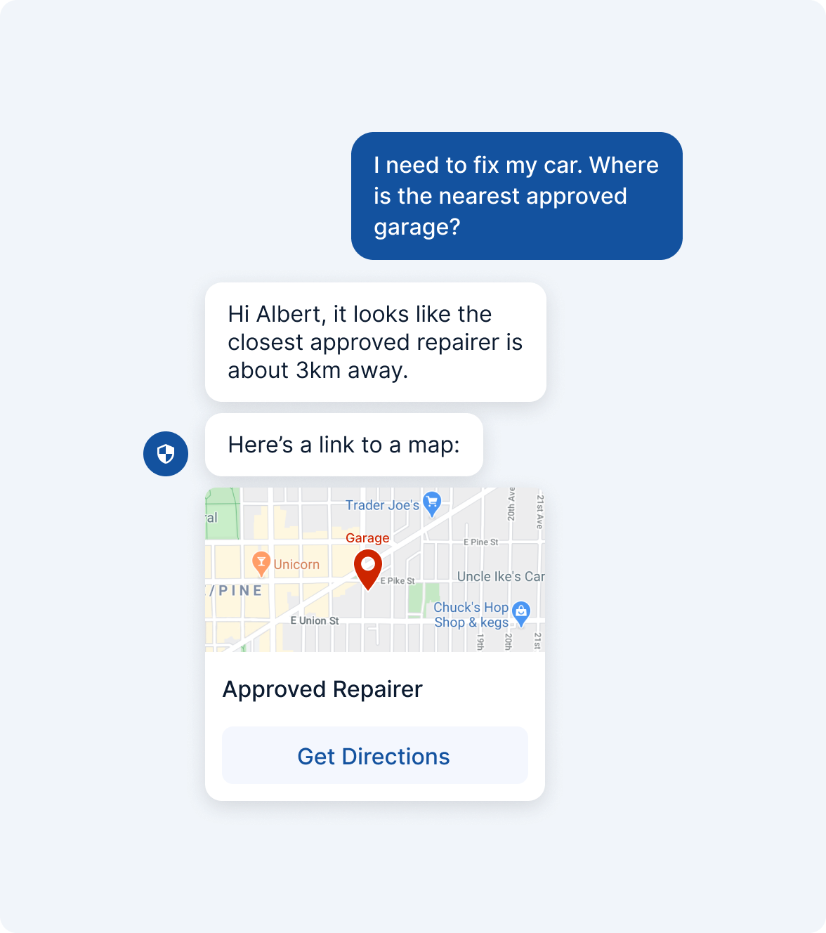 Find Approved Repairer with a Bot