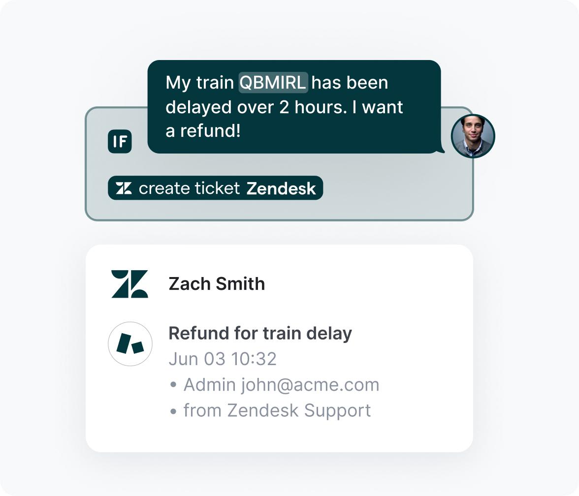 Refund request logged in Zendesk
