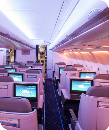 Seats in an airplane