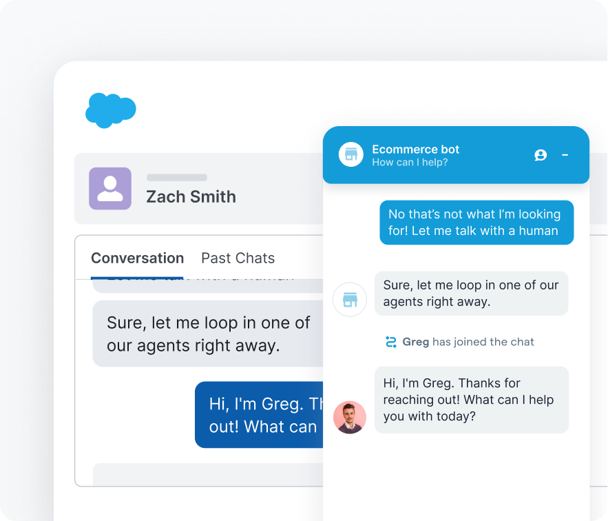 Chatbot interface within Salesforce