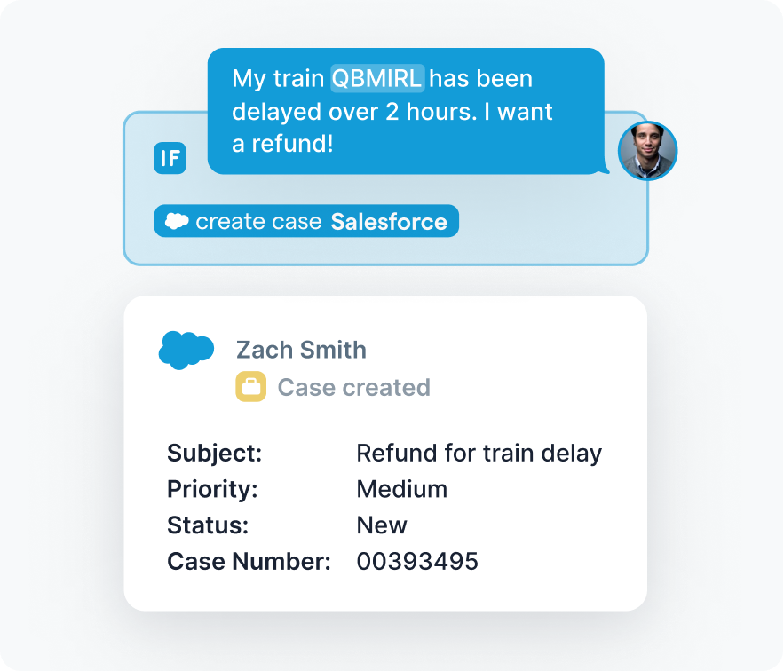 Case being open in Salesforce from a bot.