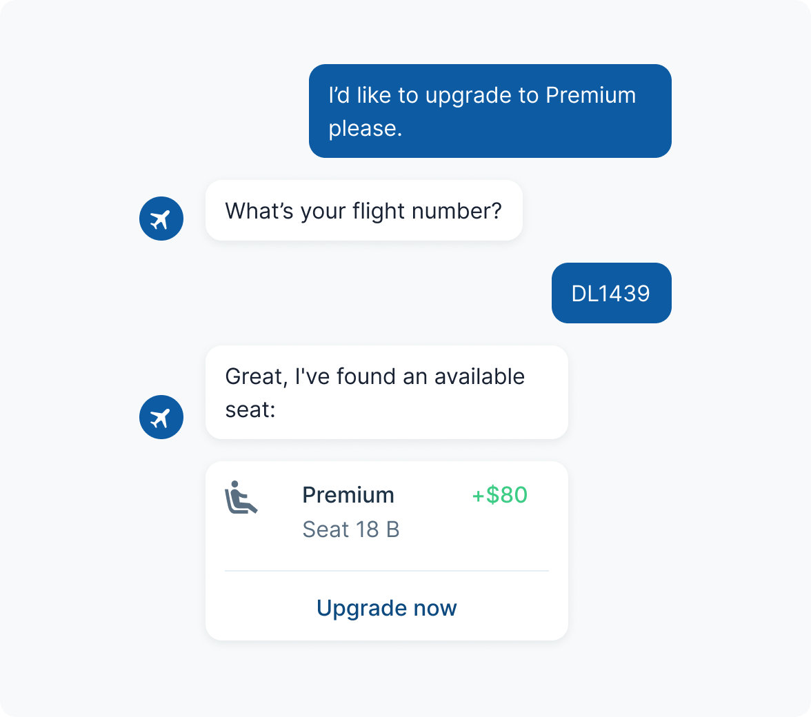 A bot helping a customer upgrade their airline seat