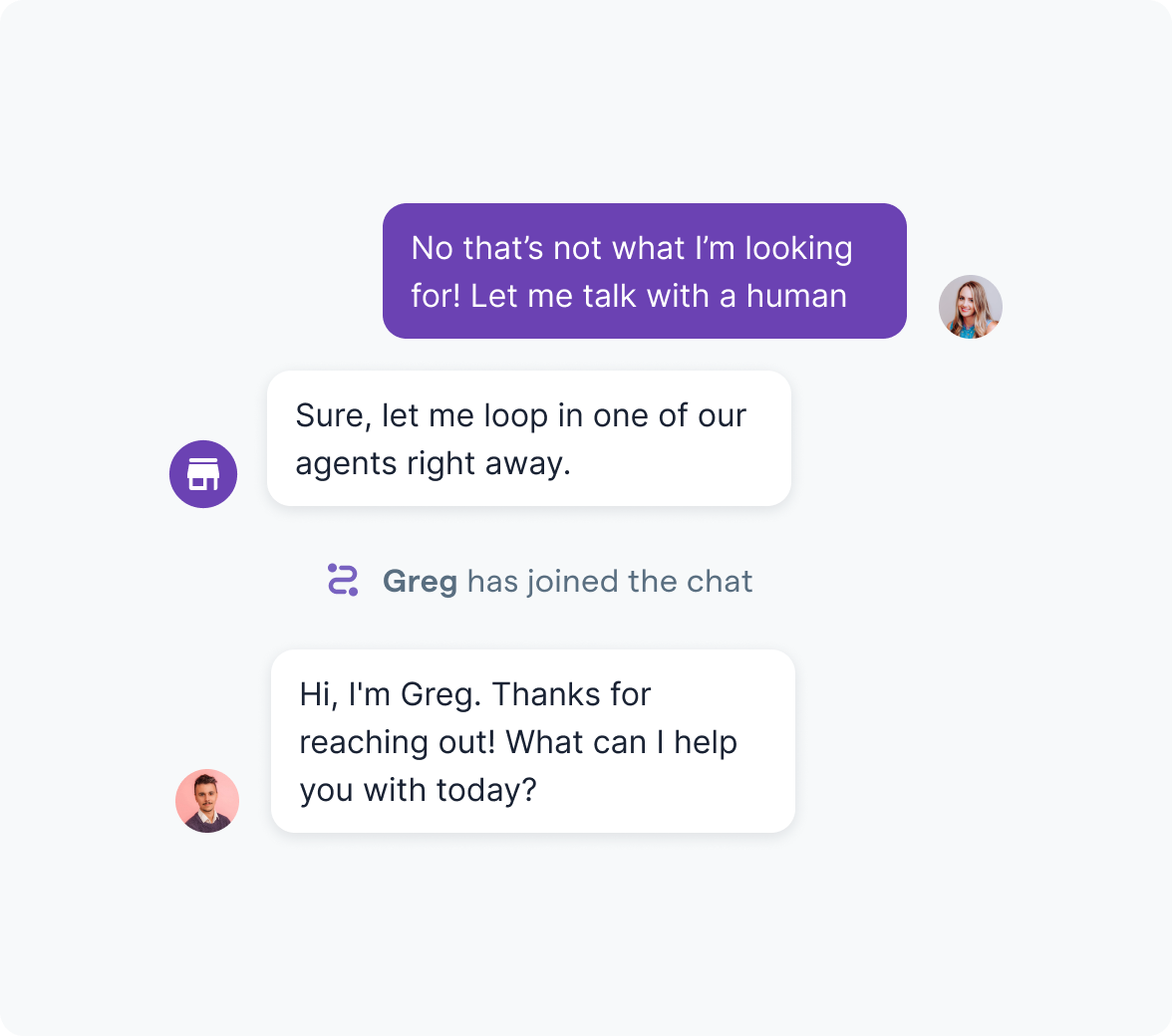 Bot connecting a customer with an agent.
