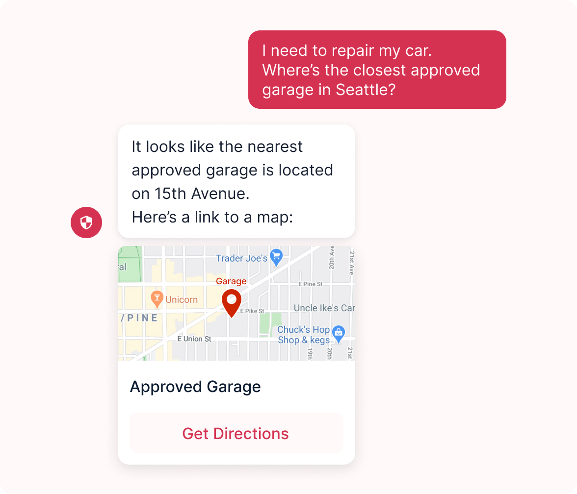 Auto insurance bot providing directions to nearest approved garage.