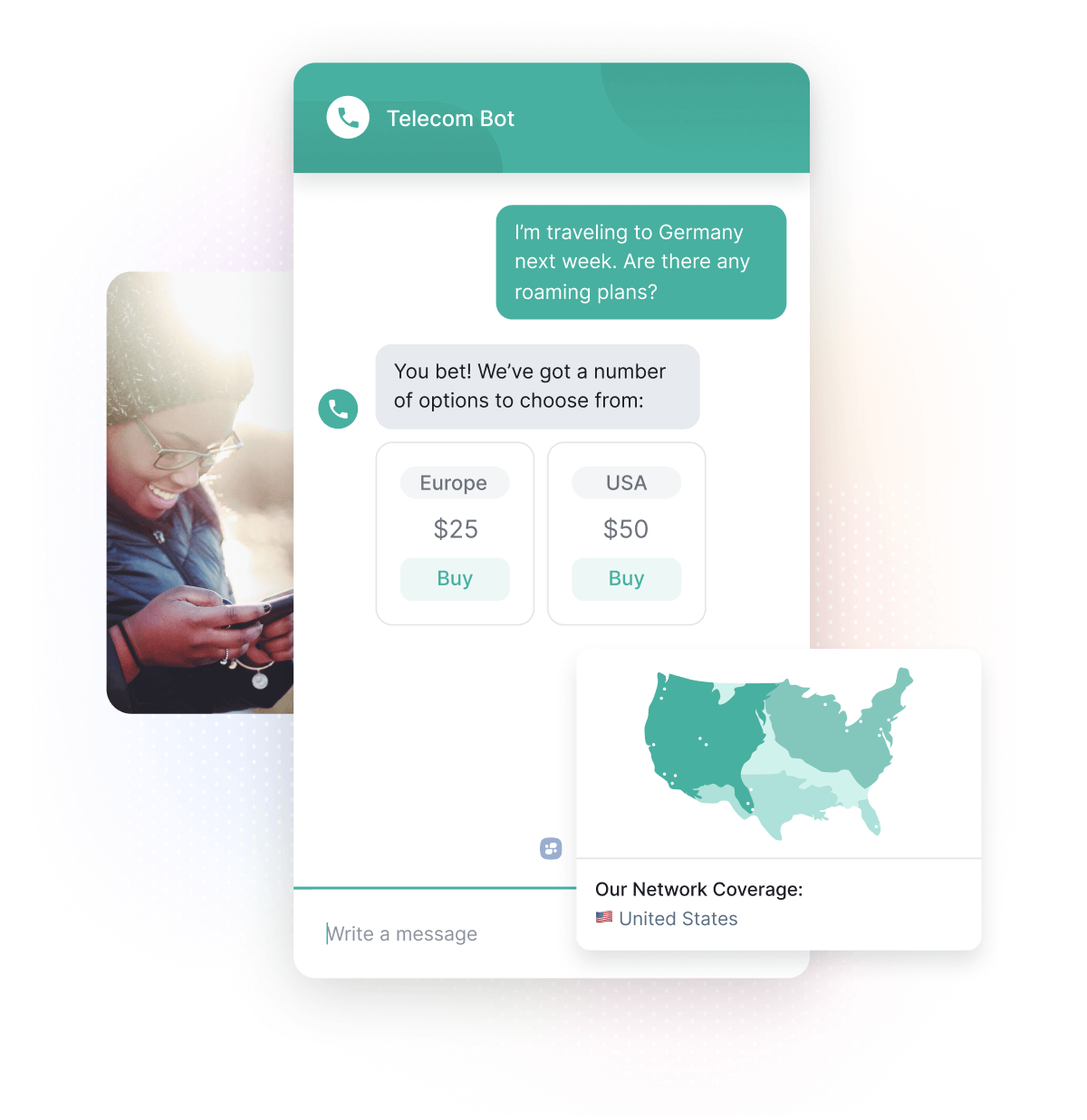 Woman Using Phone, Chatbot Suggesting Roaming Packages, Network Coverage in the United States.