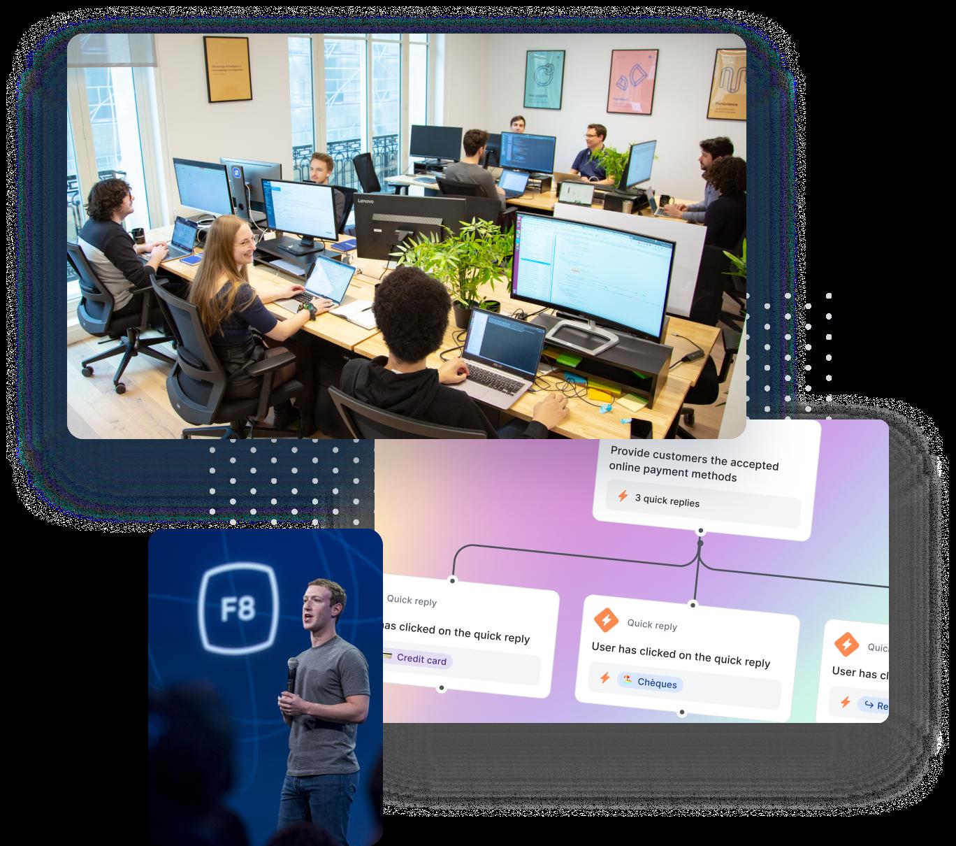 Team Discussing, Mark Zuckerberg at F8, and Mindsay Analytics Dashboard