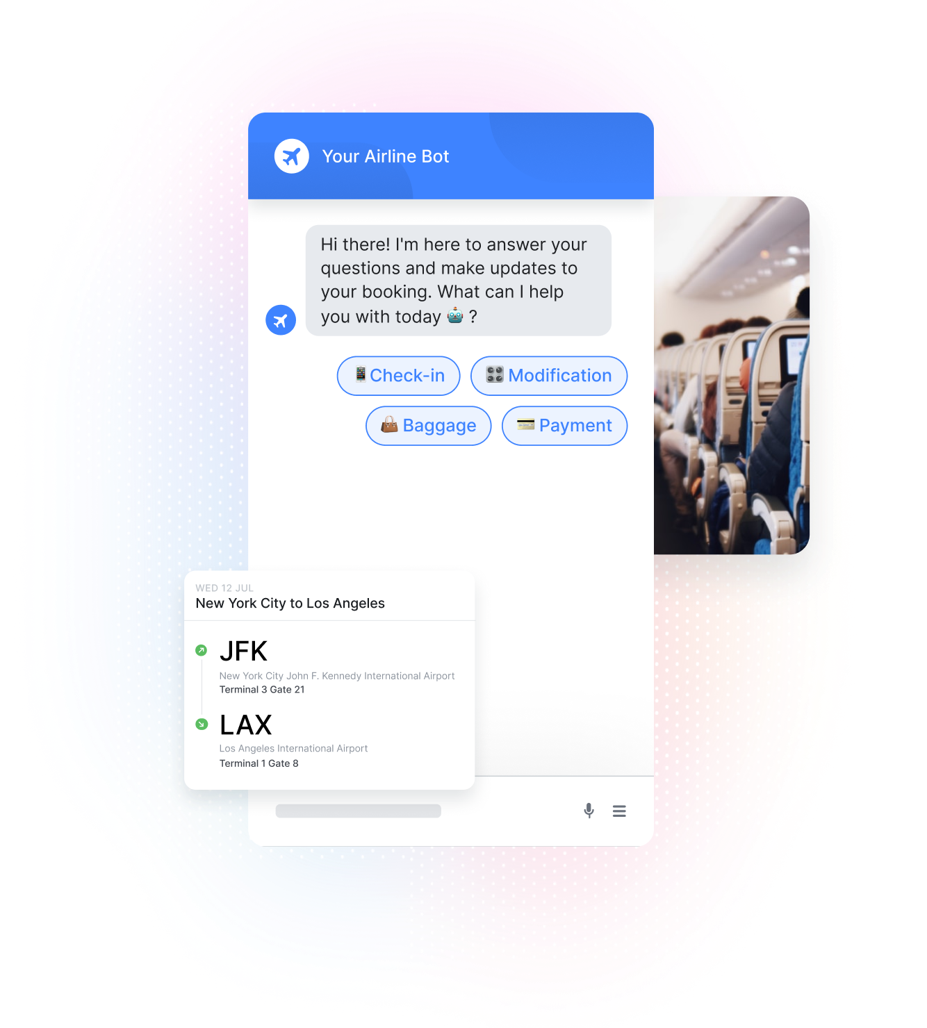Chatbot, Flight Plan, and Airplane Cabin
