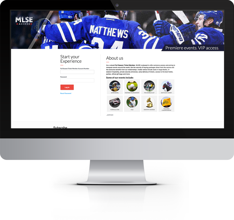 Screenshot of MLSE Access site
