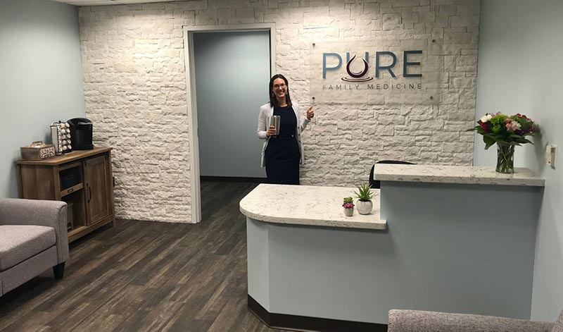 Dr. Rebecca Bub in the Pure Family Medicine office in Littleton Colorado