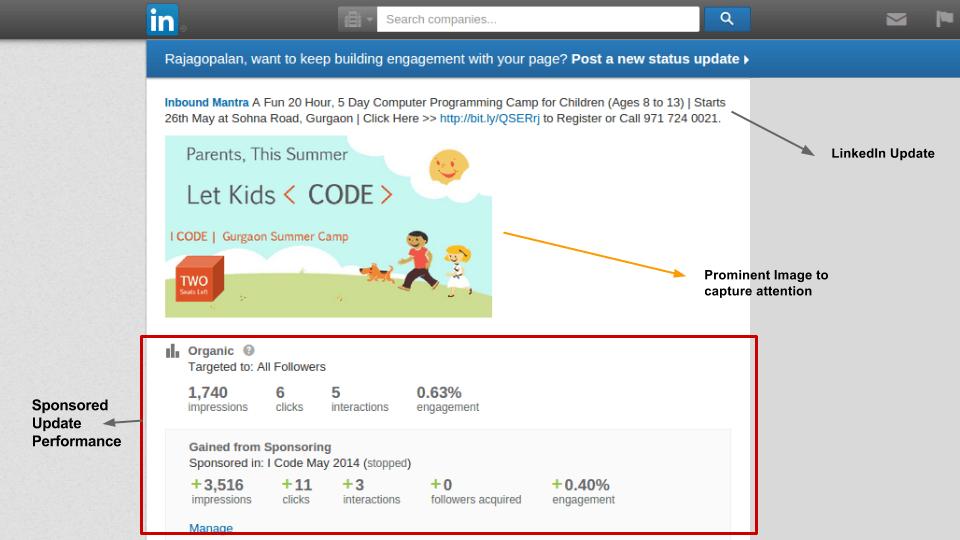 b2b lead generation linkedin sponsored update example