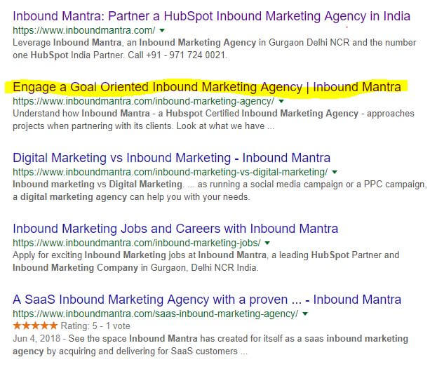 serp results for keyword inbound marketing agency